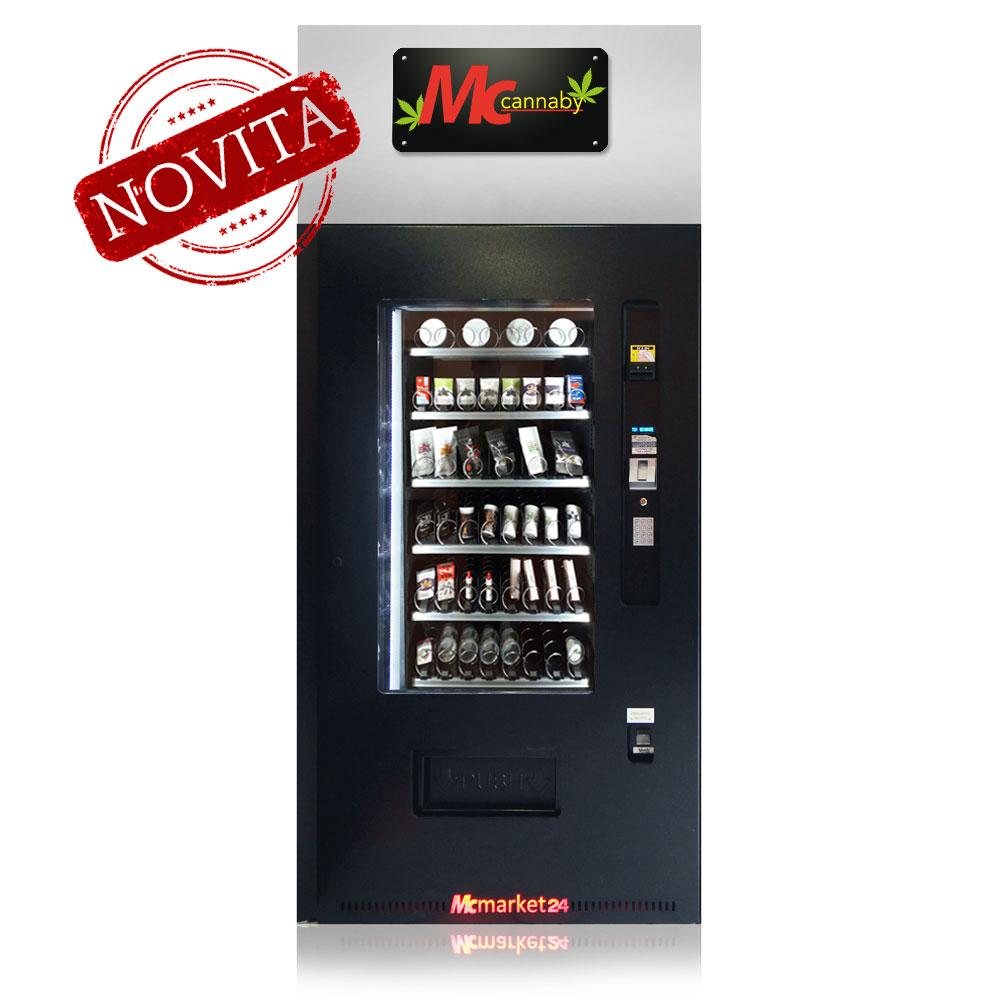 Mcmarket24: Distributore automatico con verificatore d'età di prodotti derivati dalla Cannabis Sativa Light.